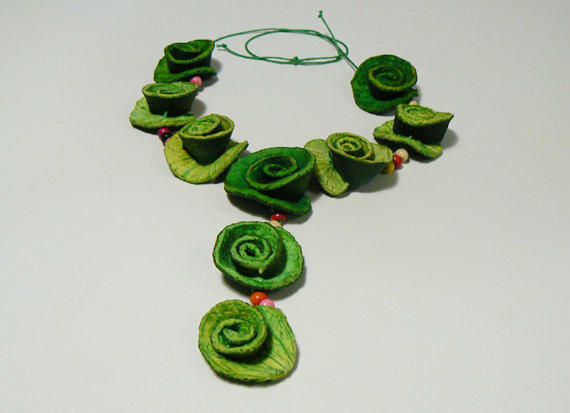 Eco-friendly statement green necklace