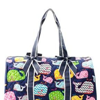 Whale Print Quilted Duffel Bag - 2 Color Choices