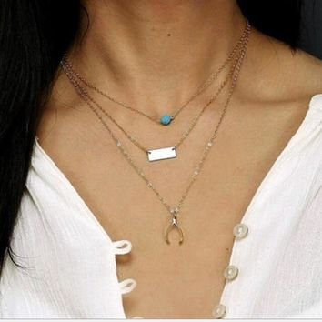 Stylish Gift New Arrival Jewelry Shiny Accessory Turquoise Metal Pendant Necklace [9659200586]