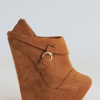Suede Camel Wedges