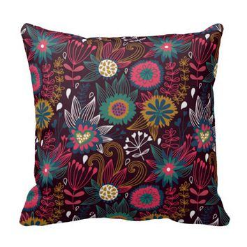 Colorful Modern Floral Pattern Throw Pillow