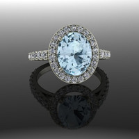 Gemstone Engagement Ring Halo Oval Blue Topaz and Diamonds 3.00 CTW