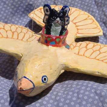 The Canary that Swallowed the Cat- Flying  Paper Mache Bird