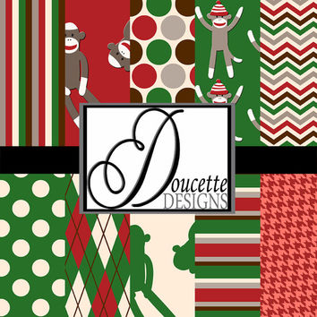 Instant Download-Christmas Sock Monkey Digital Scrapbooking Paper Pack Personal and Commercial Use