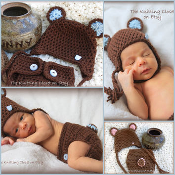 Crochet Newborn Photo Prop - Crochet Diaper Cover Pattern and Hat Pattern - Soaker Pattern - Bear