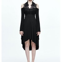 Black Gothic Elegant Lace High-Low Dress - Devilnight.co.uk