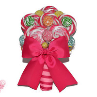 Pink and Rainbow Lollipop Bridal Bouquet, Candy Wedding Bouquet, Rehearsal, Bouquet, Lollipop Bouquet, Candy Bouquet, Wedding, Multi Color
