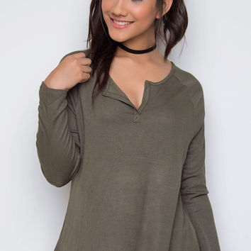 Beauty Marked Top - Olive