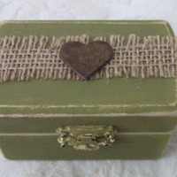 Moss Green Aged Rustic Burlap and Heart Wedding Ring Bearer Pillow Box