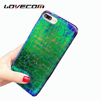 LOVECOM For iPhone 7 6 6S Plus Case Luxury Crocodile Skin Iridescent Laser Allochroic Leather Soft Phone Back Cover Cases Capa