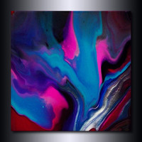 Colorful Abstract Print: 12x12 Blue Pink Magenta