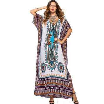 Cover ups Bikini Summer Bikini 2018 Print Beach Tunic Kaftan  Maxi Long Batwing Women Chiffon Female Vestidos Cover Up Swimsuit KO_13_1