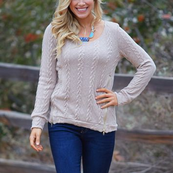 Mocha-Cable-Knit-Zipper-Accent-Sweater