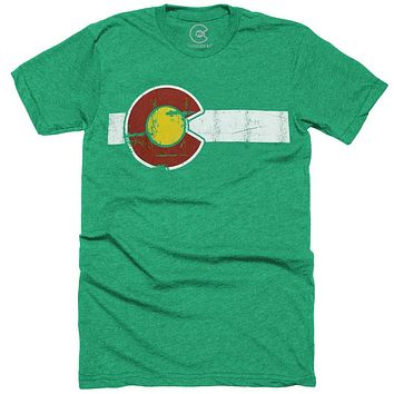 CLASSIC COLORADO FLAG GREEN T-SHIRT
