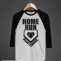 Home Run Heart Throb (Baseball Tee)-Unisex White/Black T-Shirt