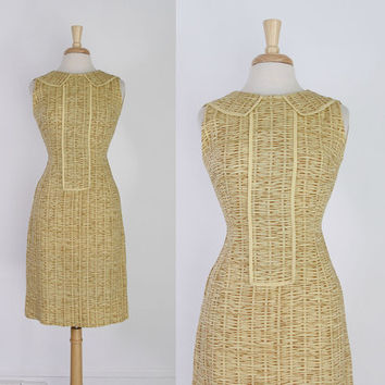 60s DONALD BROOKS Sheath DRESS / 1960s Golden Linen Wiggle Day Dress S