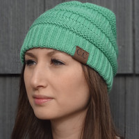 Thick Knit Cozy Beanie - Mint