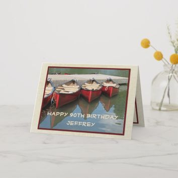 Happy 90th Birthday Greeting Card, Red Canoes Card