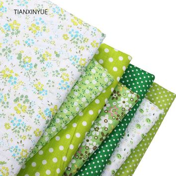 TIANXINYUE 7pcs 50cmx50cm Green 100% Cotton Fabric for patchwork sew DIY Quilting fat quarter Textile clothing flower fabric