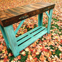 Aged Turquoise Reclaimed Wood Sofa Table |