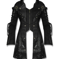 Punk Rave Poison Black Womens Jacket Coat Goth Steampunk Faux Leather Mesh