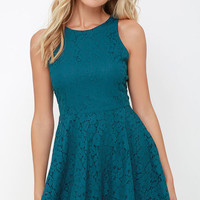 Lucy Love Hollie Jean Teal Blue Lace Skater Dress