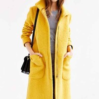 Edith & Ella Yellow High-Neck Coat- Yellow