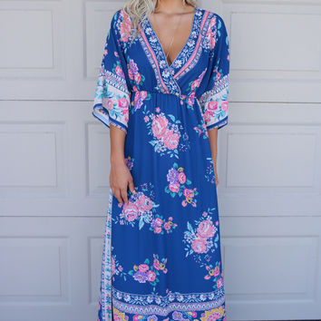 Santorini Dreams Blue Floral Print Kimono Maxi Dress
