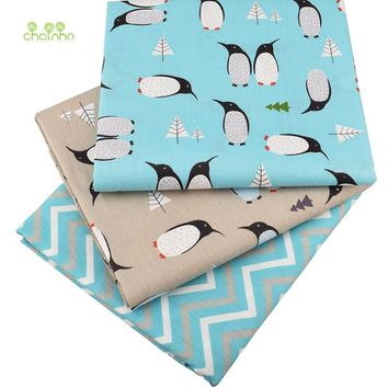 Chainho, Printed Twill Cotton Fabric,Penguin Cartoon For DIY Quilting Sewing of Baby&Children Sheet,Pillow,Cushion,Toys Material