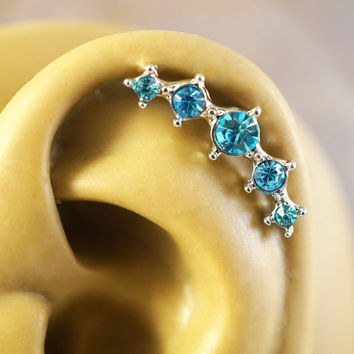 Aqua Blue Crystal Ear Climbing Cartliage Earring Helix Piercing