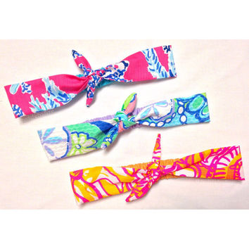 Knotted Rockabilly Style Headband Made with Lilly Pulitzer Fabric