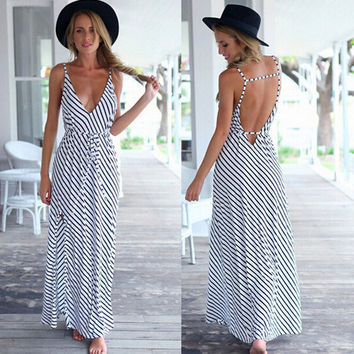 2017 Sexy Loose Stripe printed chiffon Dress