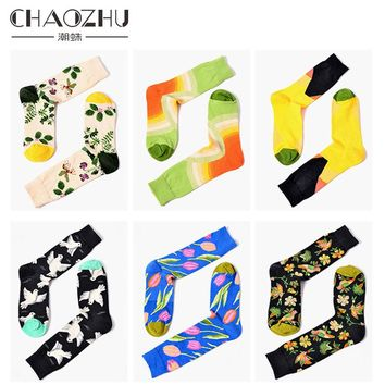 2017 Fashion Hot Tropical Styles Plant Floral Peace Dove Jacquard Happy Socks Unisex Men Women High Crew Socks Calcetines Winter