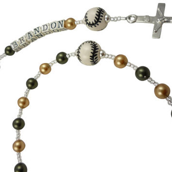 Notre Dame Football Rosary- Swarovski pearl & sterling silver- or choose any personalization/colors /sport- baseball soccer tennis Hockey