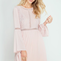 LONG SLEEVE DRESS WITH CROCHET LACE TRIM
