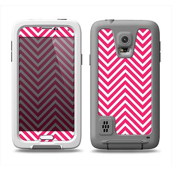The White & Pink Sharp Chevron Pattern Samsung Galaxy S5 LifeProof Fre Case Skin Set