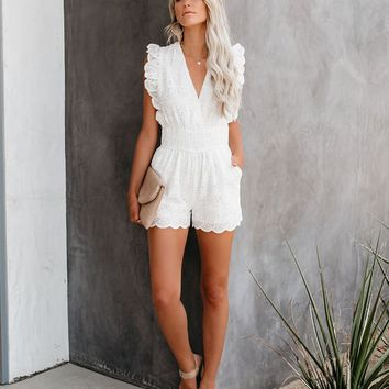 Calla Lily Cotton Eyelet Scalloped Pocketed Romper