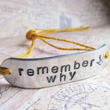 Custom ONE Hand Stamped WIDE Name Bracelet Tie On Hemp or Cotton Cord BFF Friendship