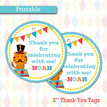 Personalized Thank You Tags | Favor Tags |  Fisher Price 1st Birthday Circus/Carnival Birthday Party Decorations, Printable, DIY