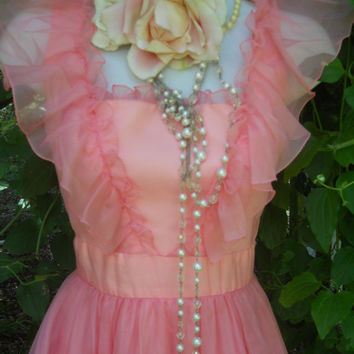 Pink prom dress ruffles vintage princess by vintageopulence