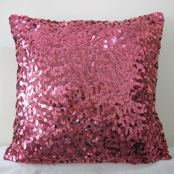Starry Night. Hot Pink Luxury Glamour. Fuchsia Sequins Embellished Pillow Cover