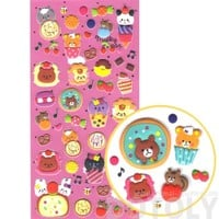 Super Cute Teddy Bears and Donuts Cakes Desserts Shaped Puffy Stickers for Scrapbooking