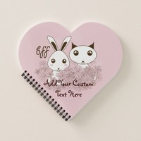 Personalized Girl Friendship Cute Animal Kids Pink Notebook