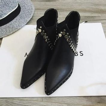Rivets 2017 spring single boots pointed toe thick heel ankle boots ladies short boots women's boots