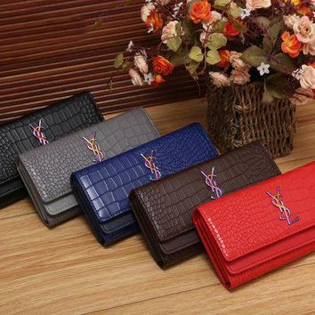 DCCKCW9 YSL Women Fashion Multicolor Logo Shopping Leather Buckle Wallet Purse