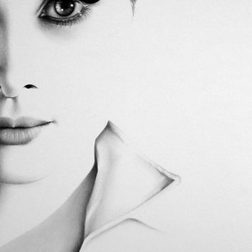 Audrey Hepburn  Fine Art Pencil Drawing Portrait Signed Print