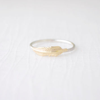 Little Feather Ring - gold feather ring - 4218