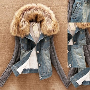 Winter Women Jeans Coat Fleece Short Denim Jacket Slim Fur Collar Outerwear Tops Warm Coat = 1929560132