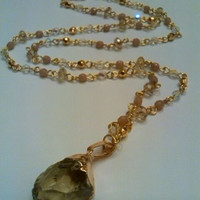 Raw Lemon Quartz gold dipped beaded necklace