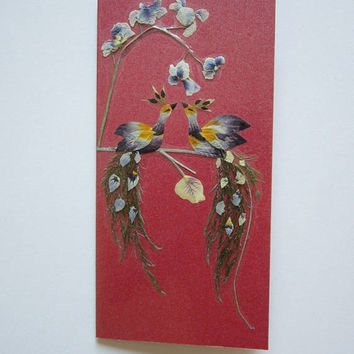 "Handmade unique greeting card ""The Moment Before A Kiss"" - Pressed flowers greeting card - Unique gift - Art card - Original art collage."